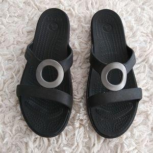 Black croc Strappy sandals 9